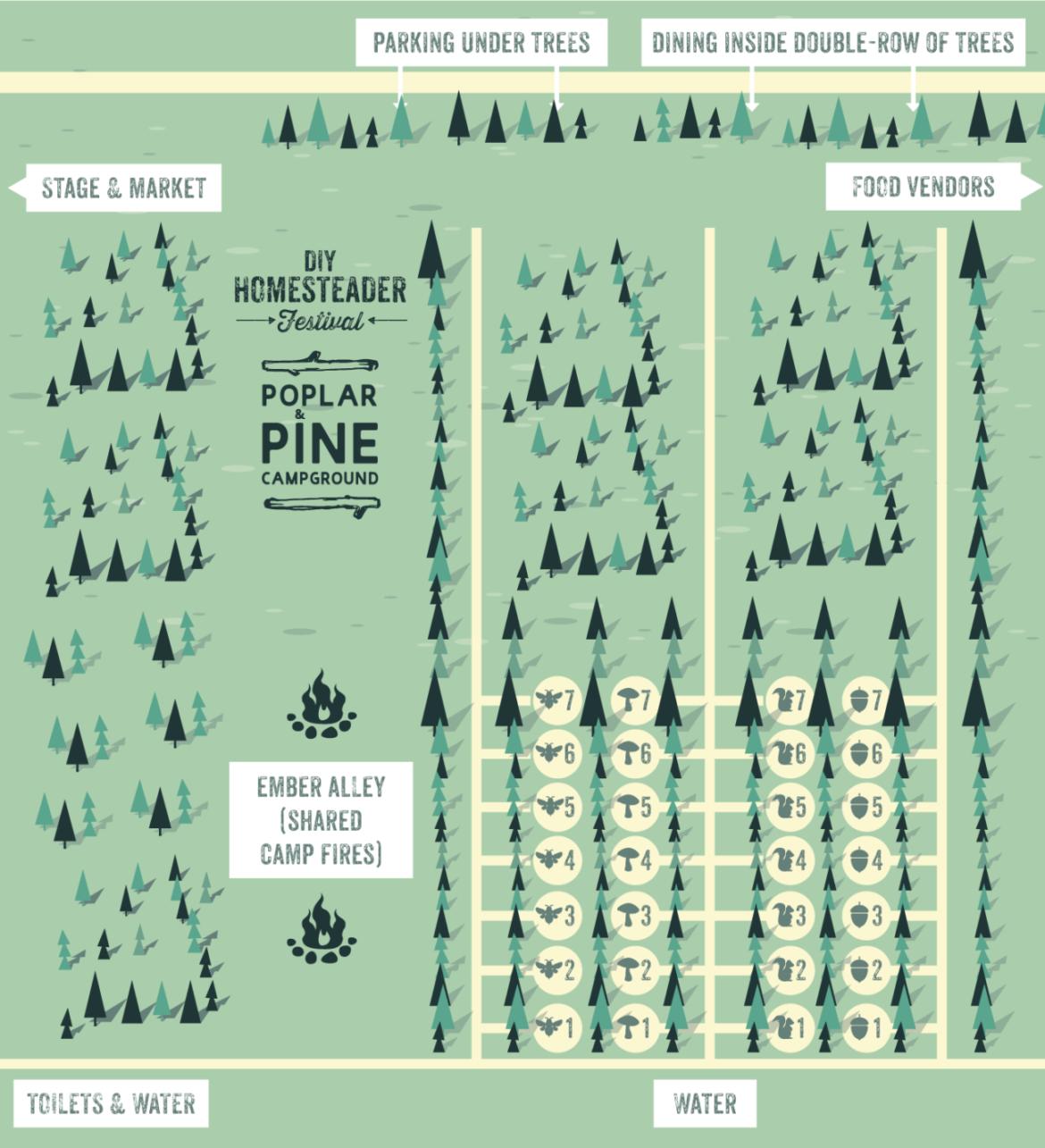 Poplar & Pine Campsite Map